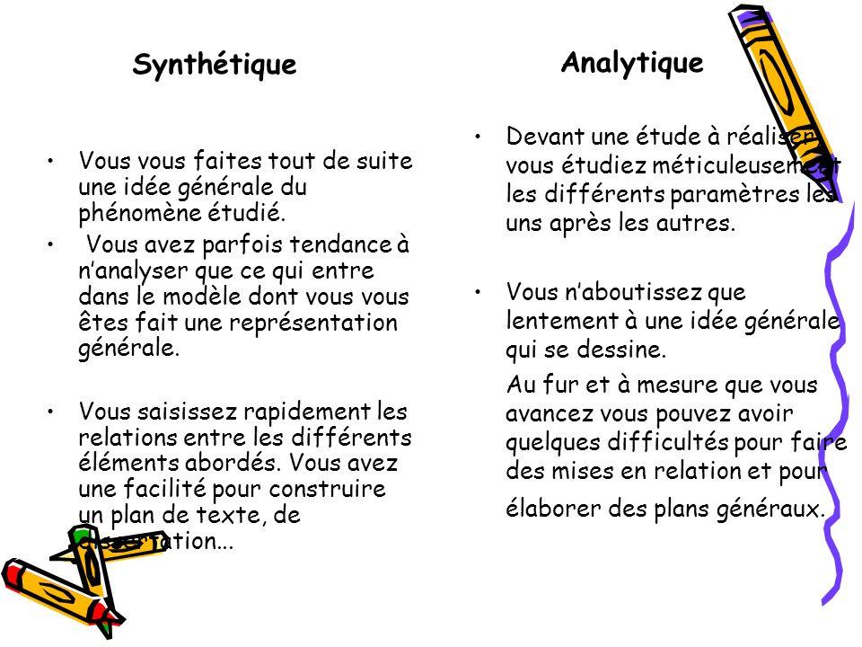 LES PROFILS COGNITIFS Analytique Synthétique