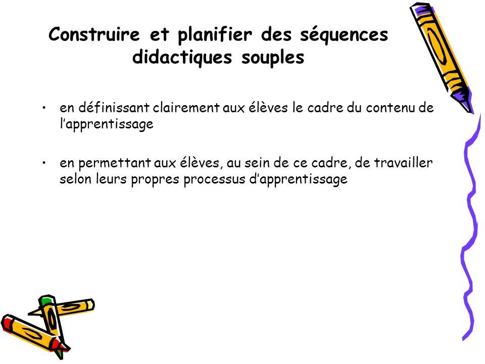 Construire et planifier des séquences didactiques souples