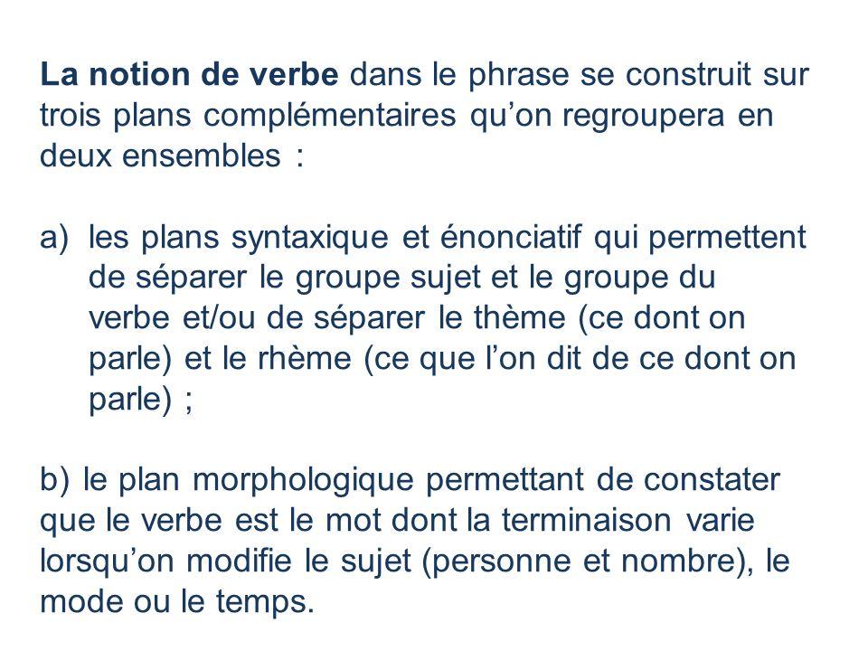 La notion de verbe dans le phrase se construit sur trois plans complémentaires qu'on regroupera en deux ensembles :