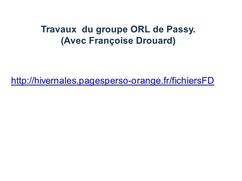 Travaux du groupe ORL de Passy. (Avec Françoise Drouard)