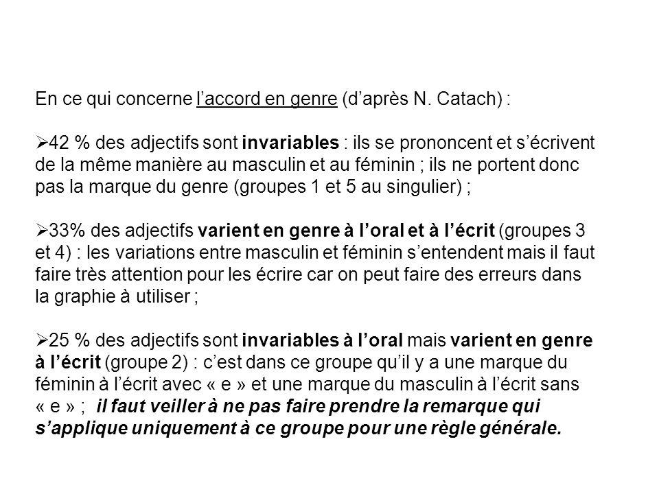 En ce qui concerne l'accord en genre (d'après N. Catach) :