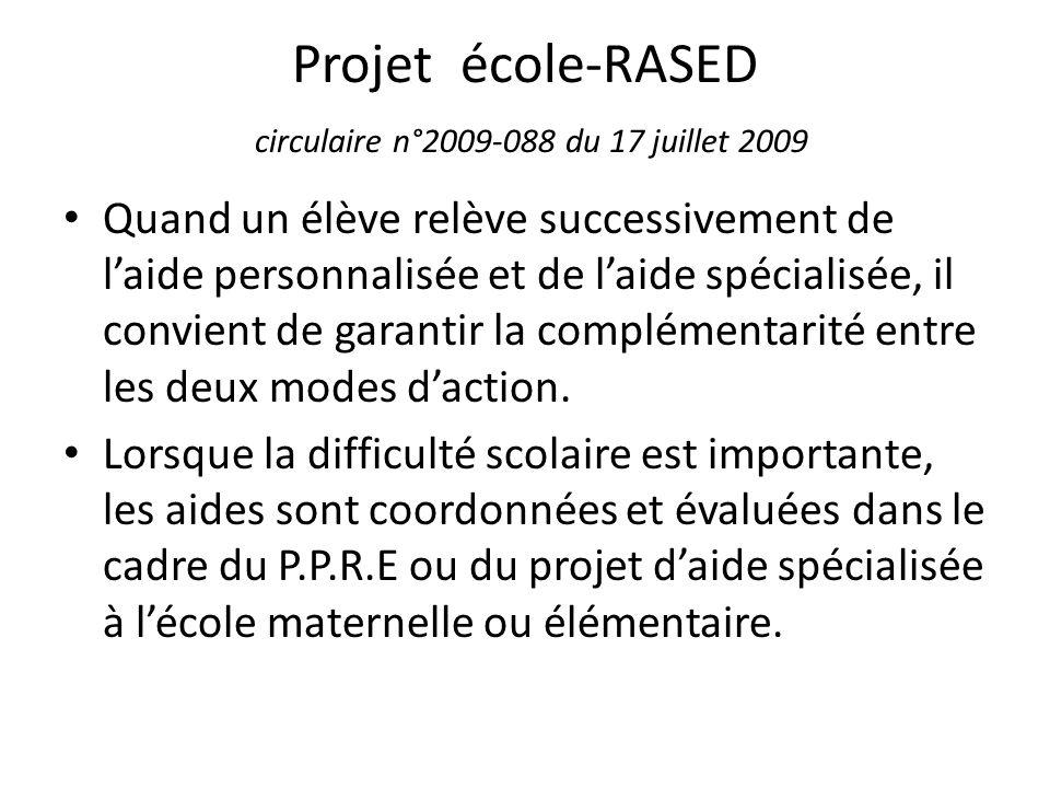 Projet école-RASED circulaire n°2009-088 du 17 juillet 2009