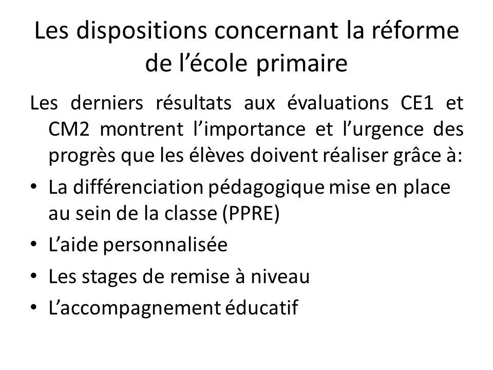 Les dispositions concernant la réforme de l'école primaire