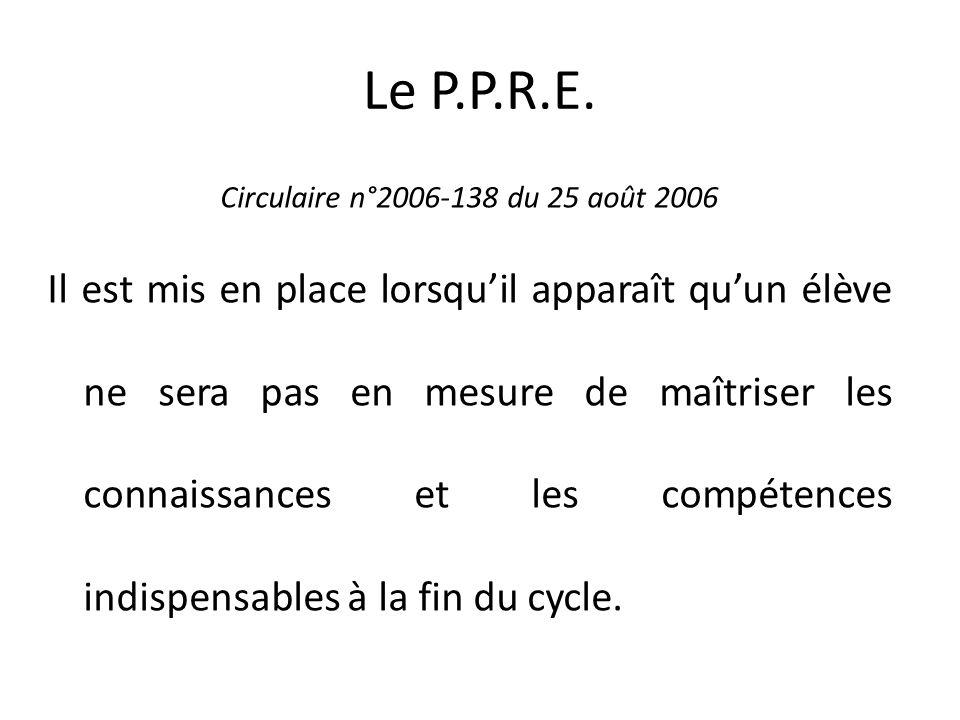 Le P.P.R.E. Circulaire n°2006-138 du 25 août 2006.
