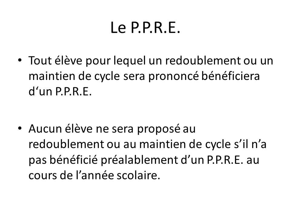 Le P.P.R.E. Tout élève pour lequel un redoublement ou un maintien de cycle sera prononcé bénéficiera d'un P.P.R.E.