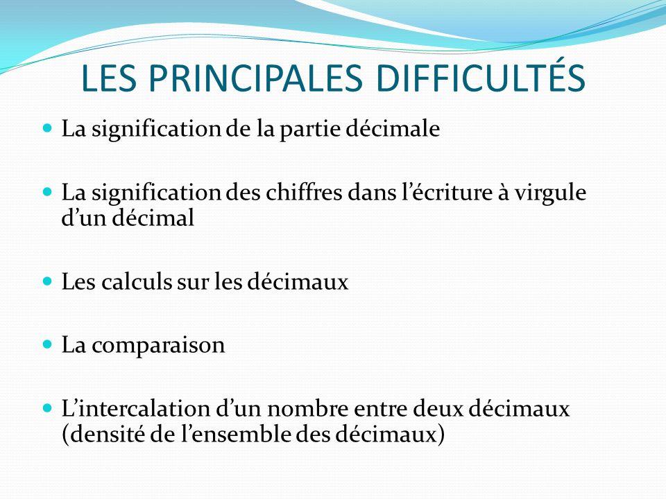 LES PRINCIPALES DIFFICULTÉS