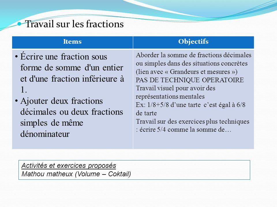 Travail sur les fractions