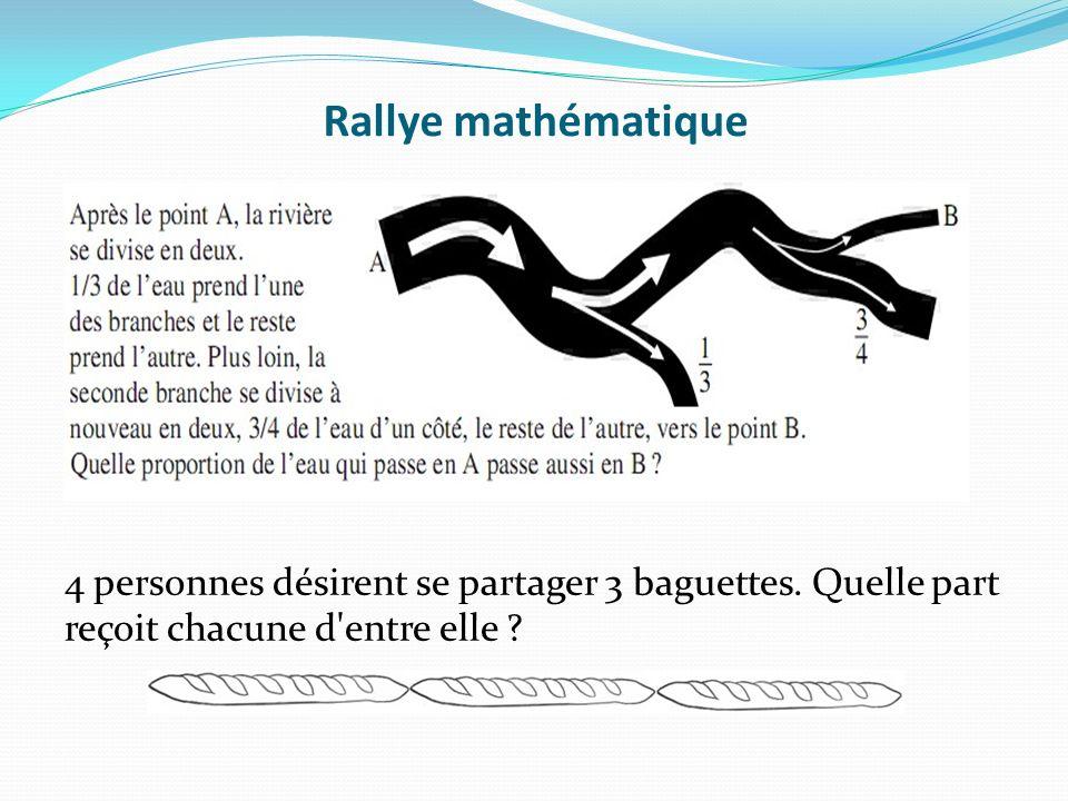 Rallye mathématique 4 personnes désirent se partager 3 baguettes.
