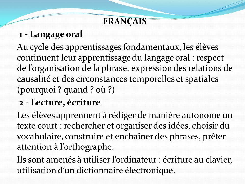 FRANÇAIS 1 - Langage oral Au cycle des apprentissages fondamentaux, les élèves continuent leur apprentissage du langage oral : respect de l'organisation de la phrase, expression des relations de causalité et des circonstances temporelles et spatiales (pourquoi .