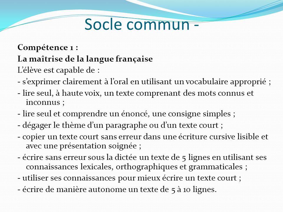 Socle commun - Compétence 1 : La maîtrise de la langue française