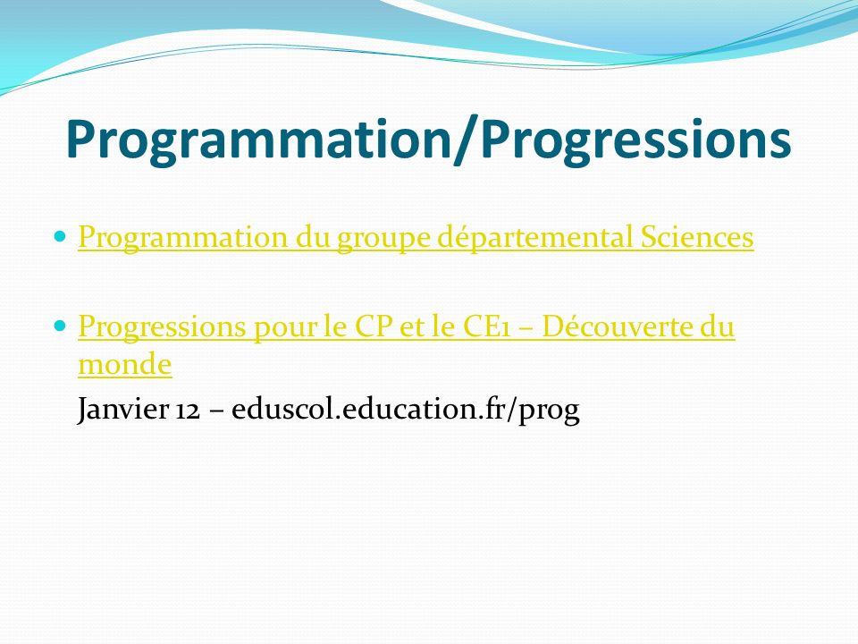 Programmation/Progressions