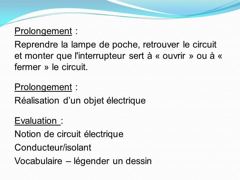 Prolongement : Reprendre la lampe de poche, retrouver le circuit et monter que l interrupteur sert à « ouvrir » ou à « fermer » le circuit.
