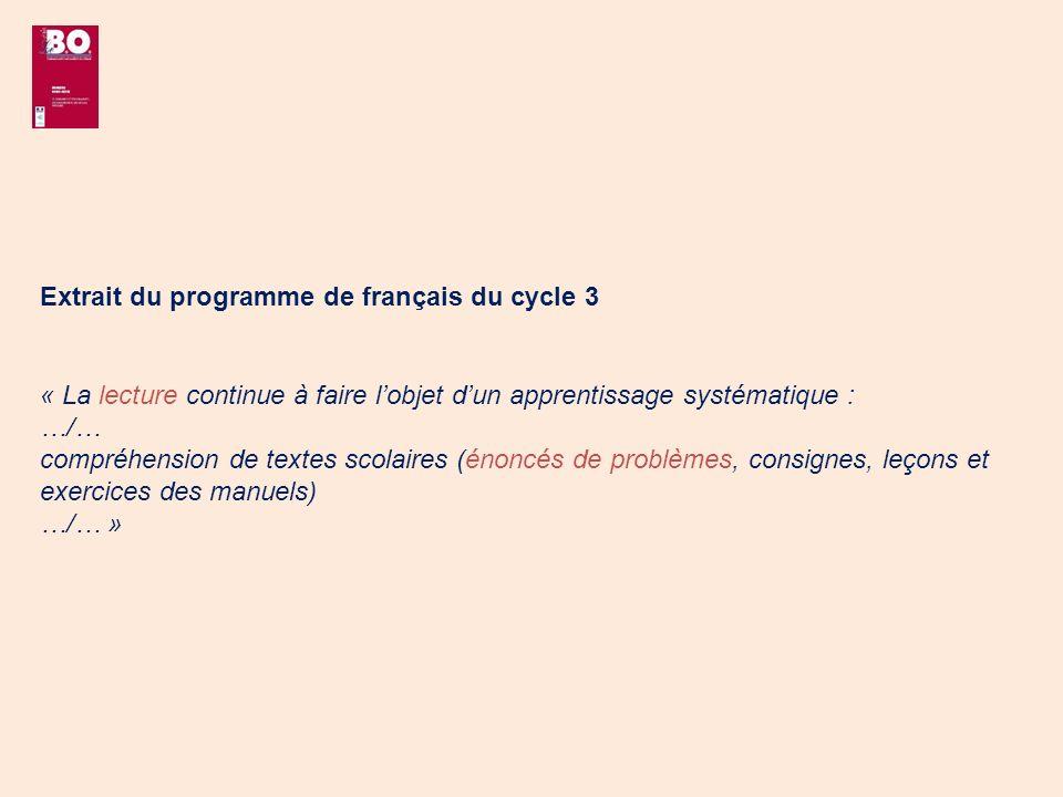 Extrait du programme de français du cycle 3
