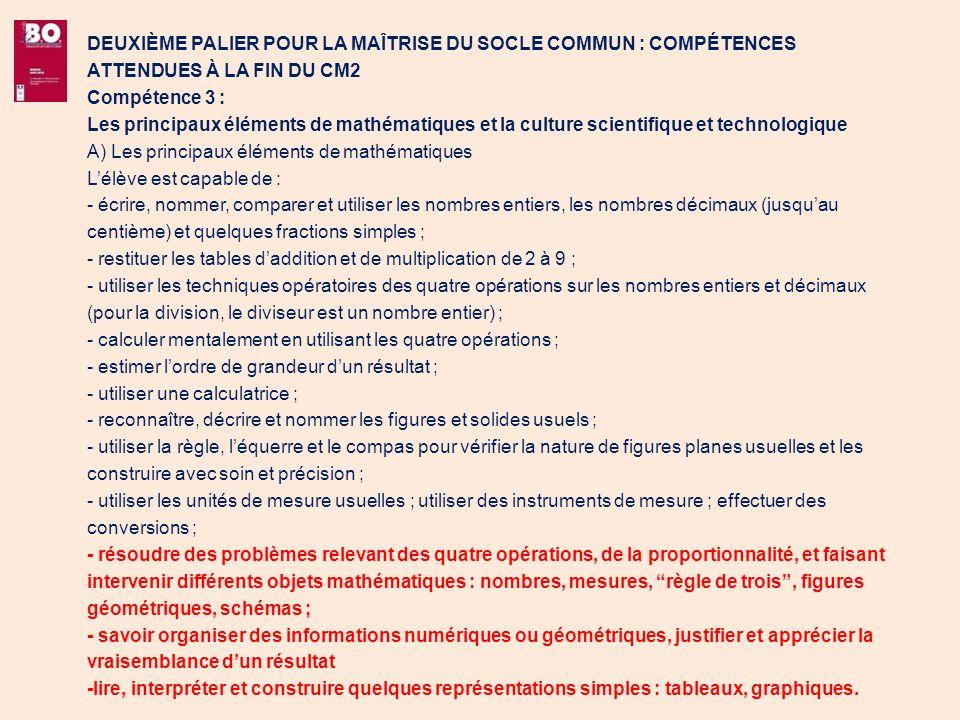 DEUXIÈME PALIER POUR LA MAÎTRISE DU SOCLE COMMUN : COMPÉTENCES