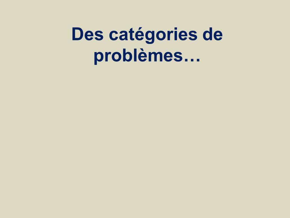 Des catégories de problèmes…