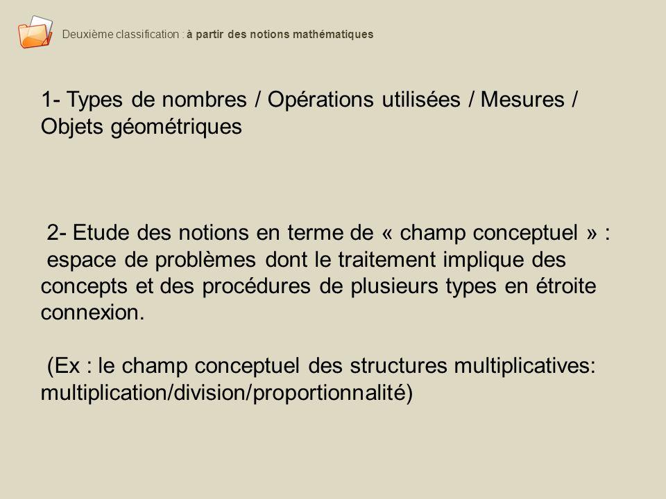 2- Etude des notions en terme de « champ conceptuel » :