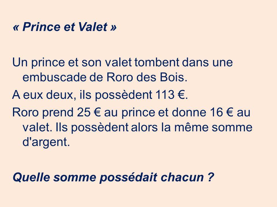 « Prince et Valet » Un prince et son valet tombent dans une embuscade de Roro des Bois.