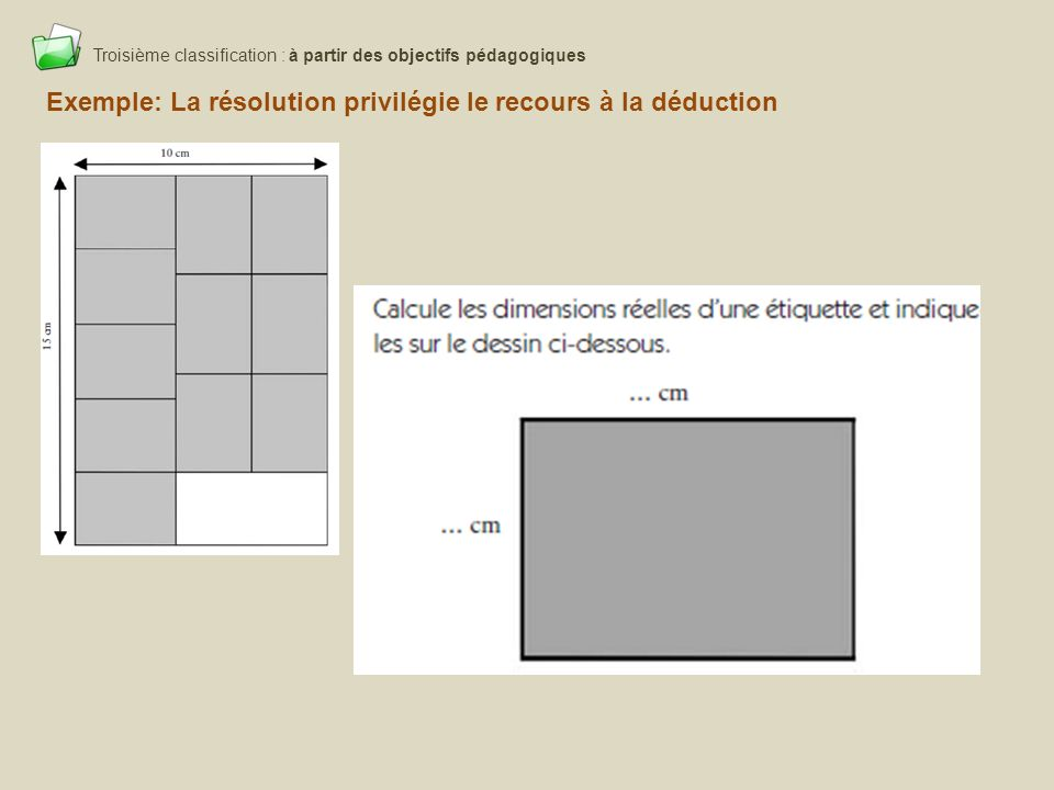 Troisième classification : à partir des objectifs pédagogiques
