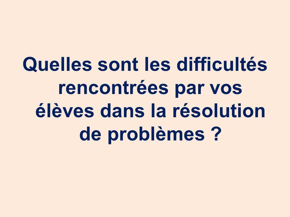 Quelles sont les difficultés rencontrées par vos élèves dans la résolution de problèmes