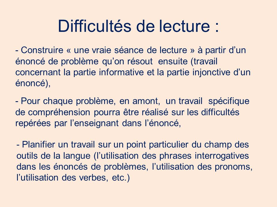 Difficultés de lecture :