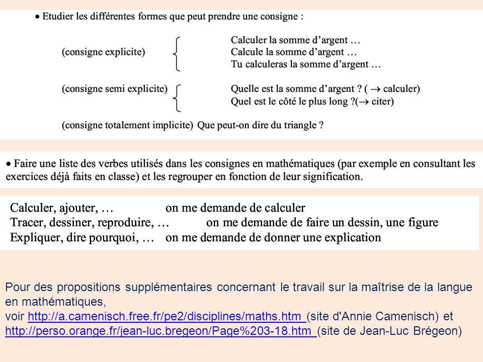 Pour des propositions supplémentaires concernant le travail sur la maîtrise de la langue en mathématiques,