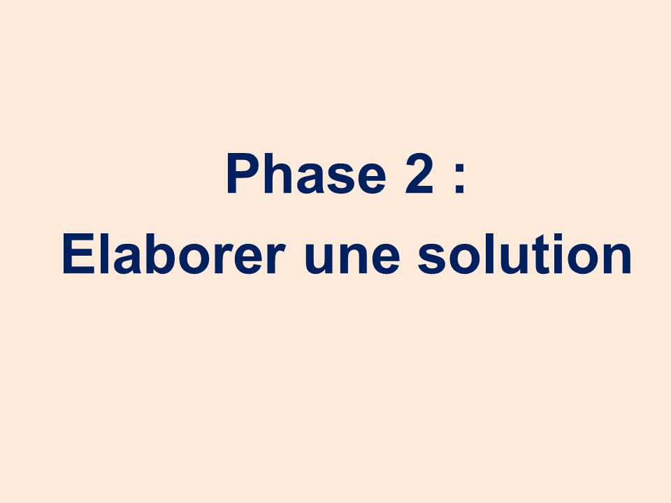Phase 2 : Elaborer une solution