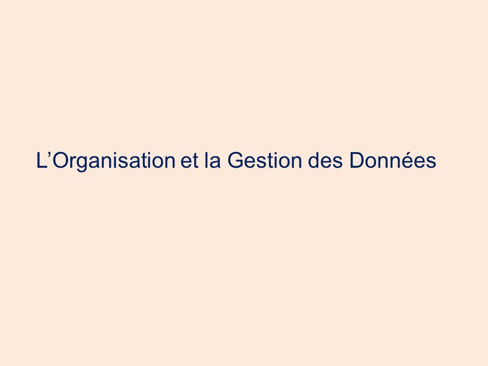 L'Organisation et la Gestion des Données