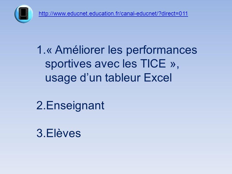 http://www.educnet.education.fr/canal-educnet/ direct=011 « Améliorer les performances sportives avec les TICE », usage d'un tableur Excel.