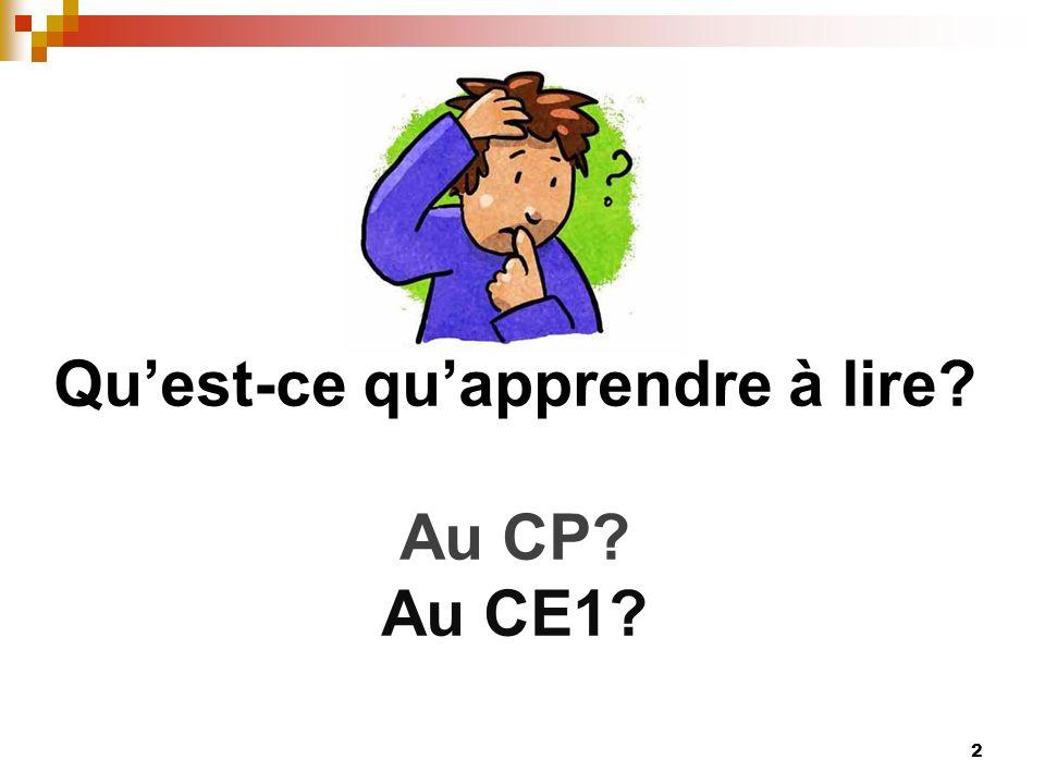 Qu'est-ce qu'apprendre à lire Au CP Au CE1