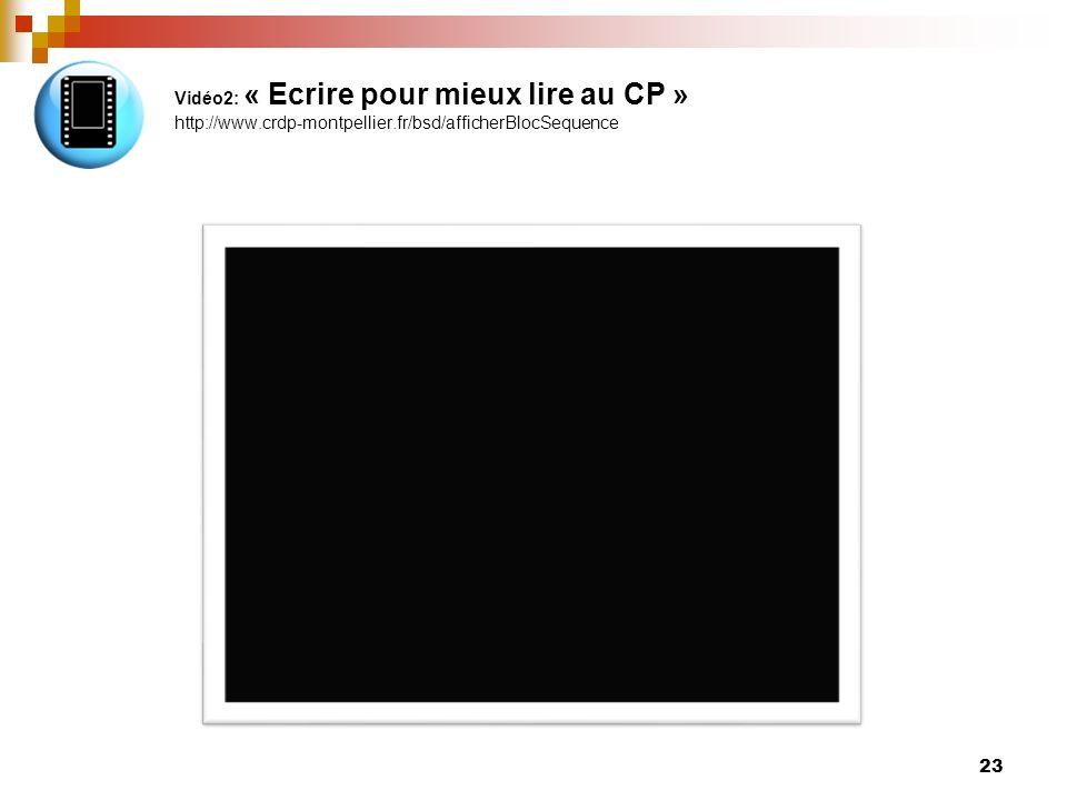 Vidéo2: « Ecrire pour mieux lire au CP » http://www. crdp-montpellier