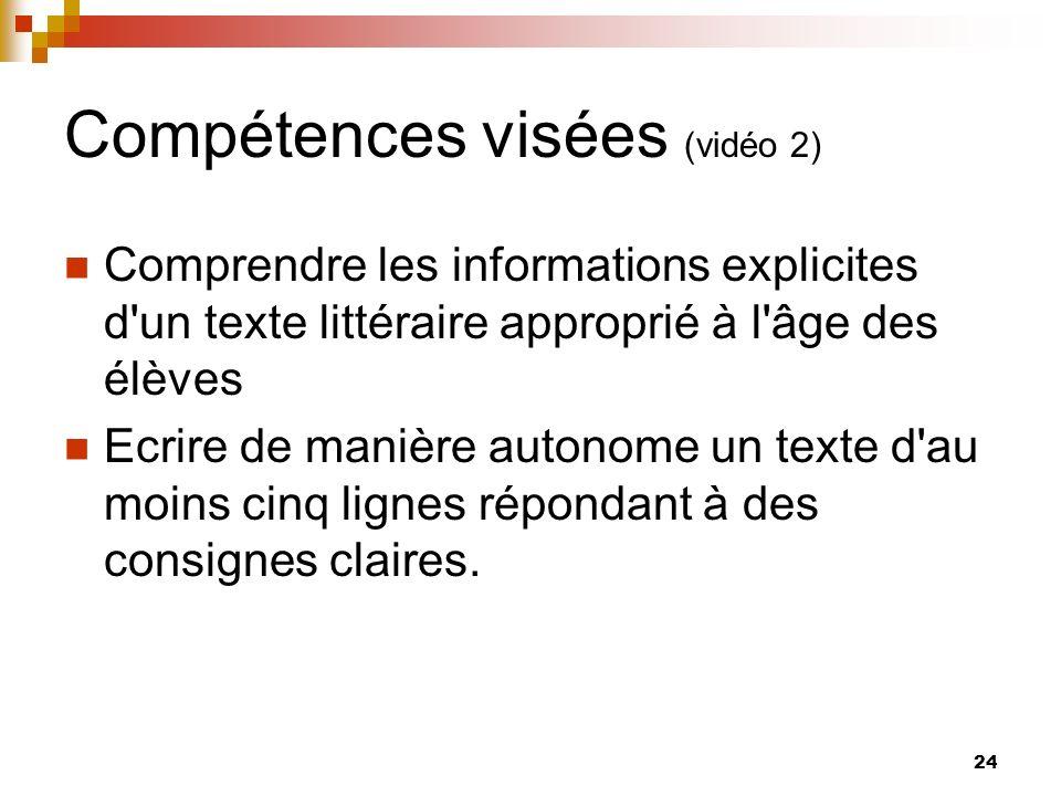 Compétences visées (vidéo 2)