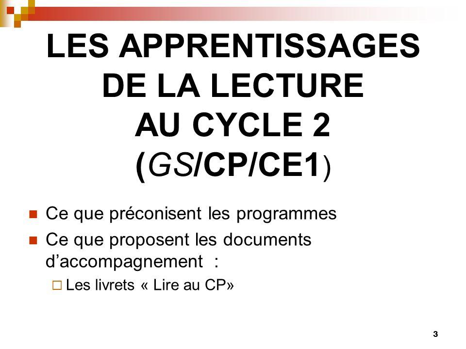 LES APPRENTISSAGES DE LA LECTURE AU CYCLE 2 (GS/CP/CE1)