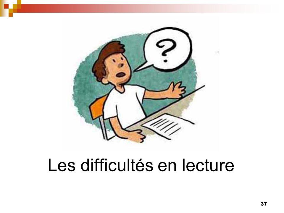 Les difficultés en lecture