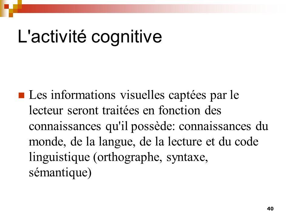 L activité cognitive