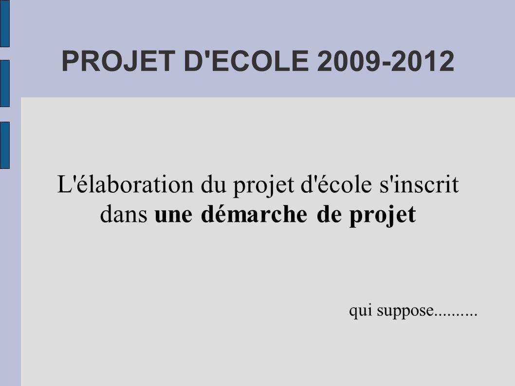 L élaboration du projet d école s inscrit dans une démarche de projet