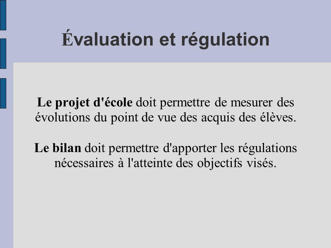 Évaluation et régulation