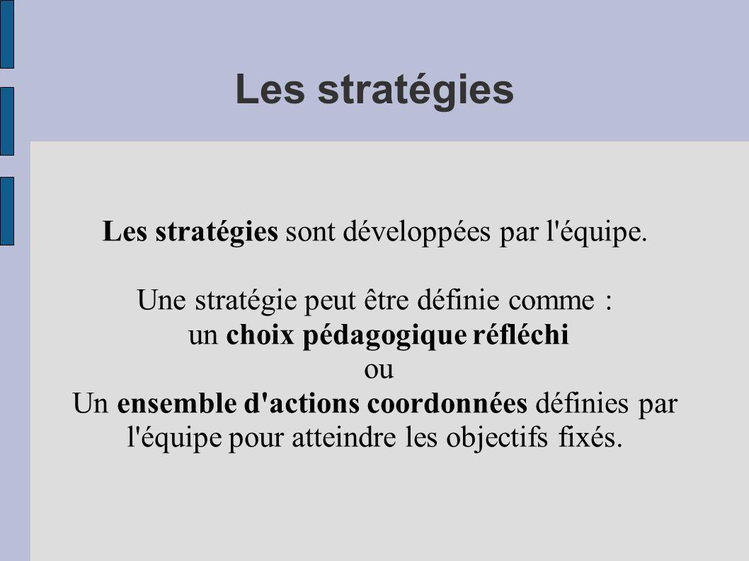 Les stratégies Les stratégies sont développées par l équipe.