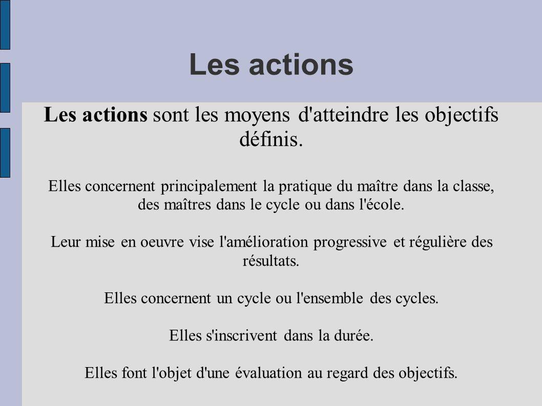 Les actions Les actions sont les moyens d atteindre les objectifs définis.