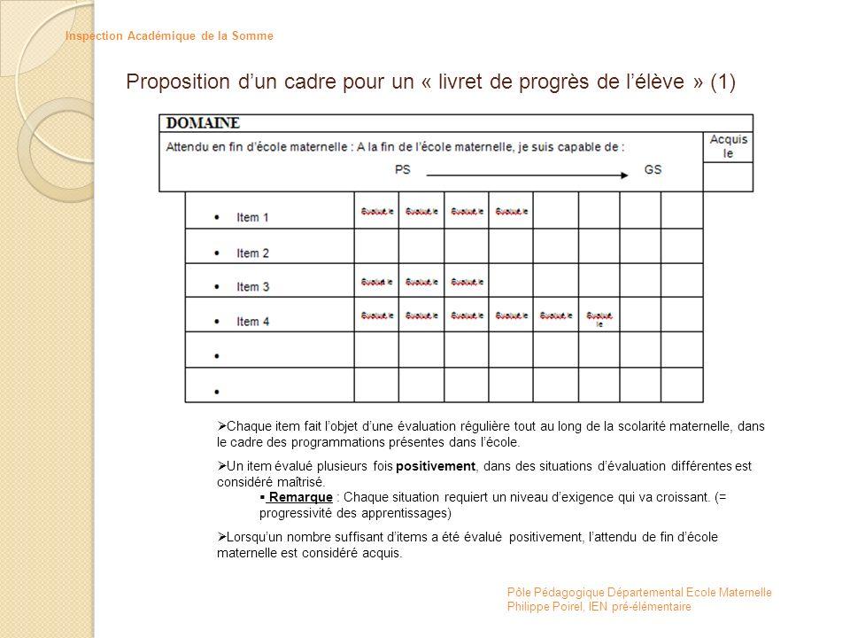 Proposition d'un cadre pour un « livret de progrès de l'élève » (1)