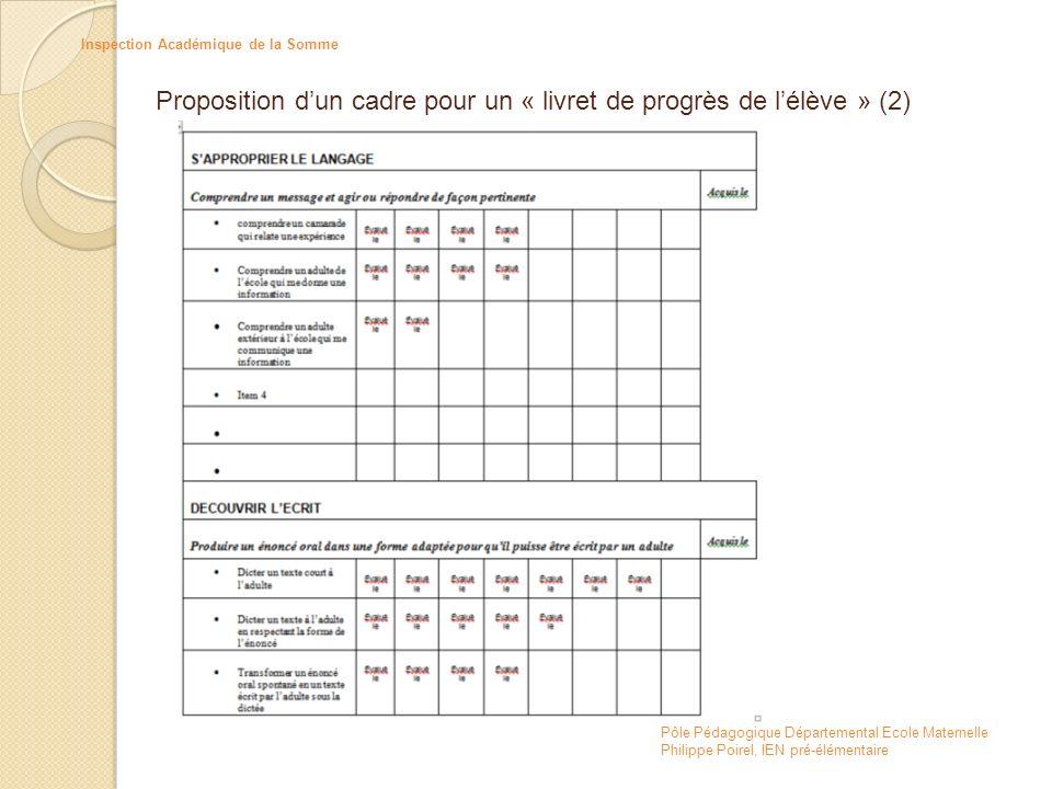 Proposition d'un cadre pour un « livret de progrès de l'élève » (2)