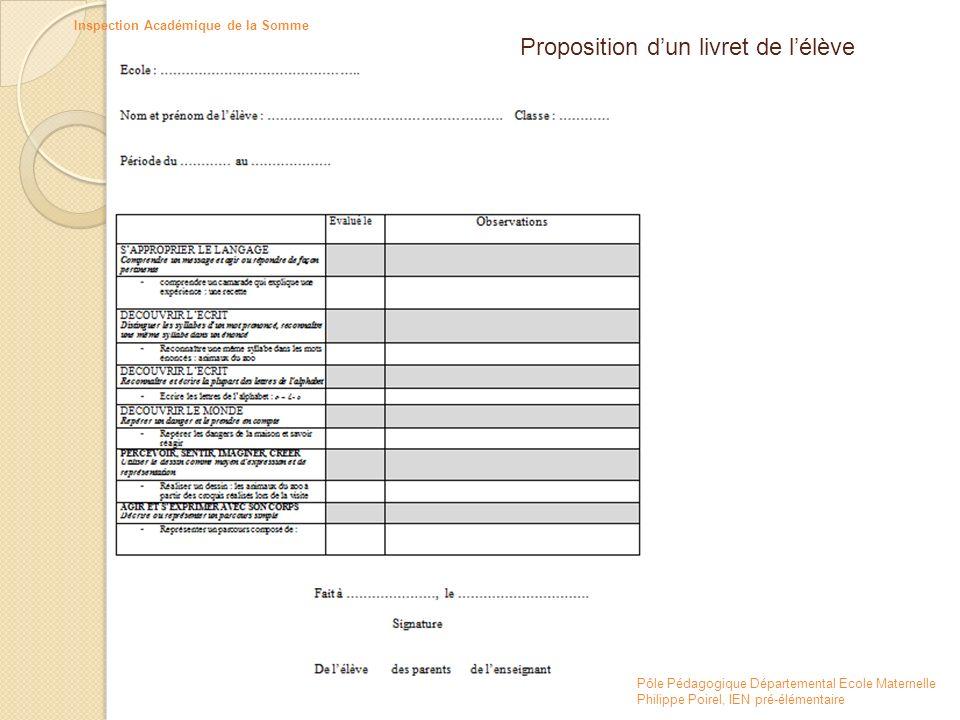 Proposition d'un livret de l'élève