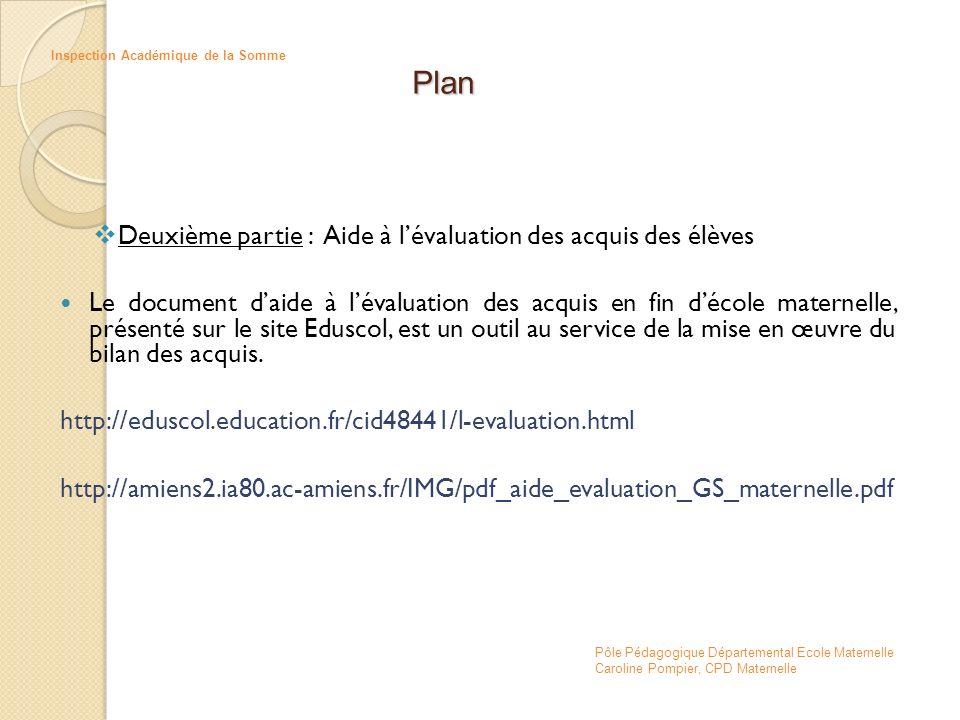 Plan Deuxième partie : Aide à l'évaluation des acquis des élèves