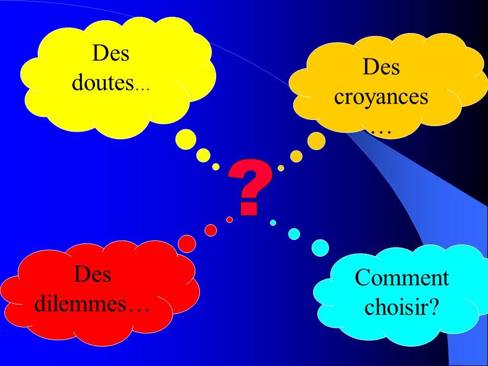 Des doutes… Des croyances… Des dilemmes… Comment choisir