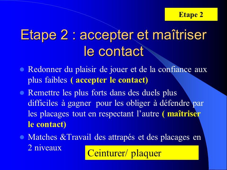 Etape 2 : accepter et maîtriser le contact