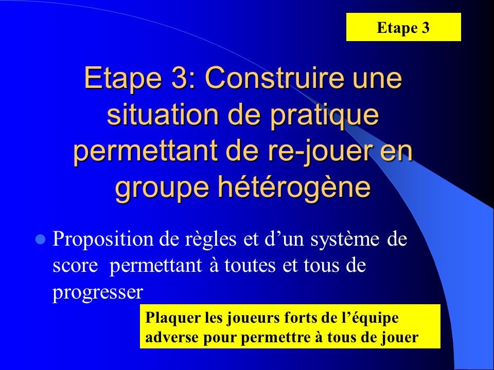 Etape 3 Etape 3: Construire une situation de pratique permettant de re-jouer en groupe hétérogène.