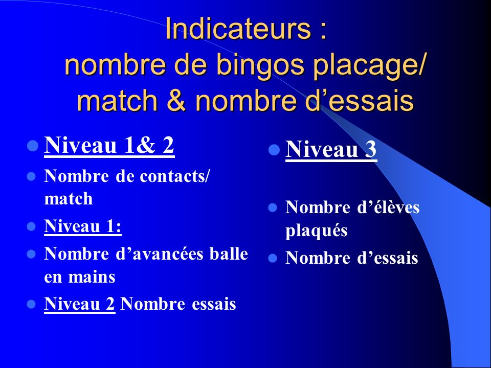 Indicateurs : nombre de bingos placage/ match & nombre d'essais