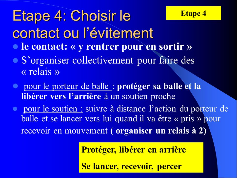 Etape 4: Choisir le contact ou l'évitement