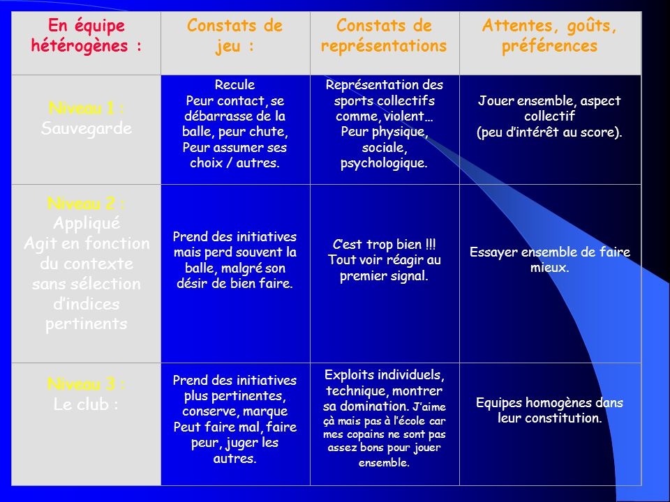 En équipe hétérogènes : Constats de jeu : Constats de représentations
