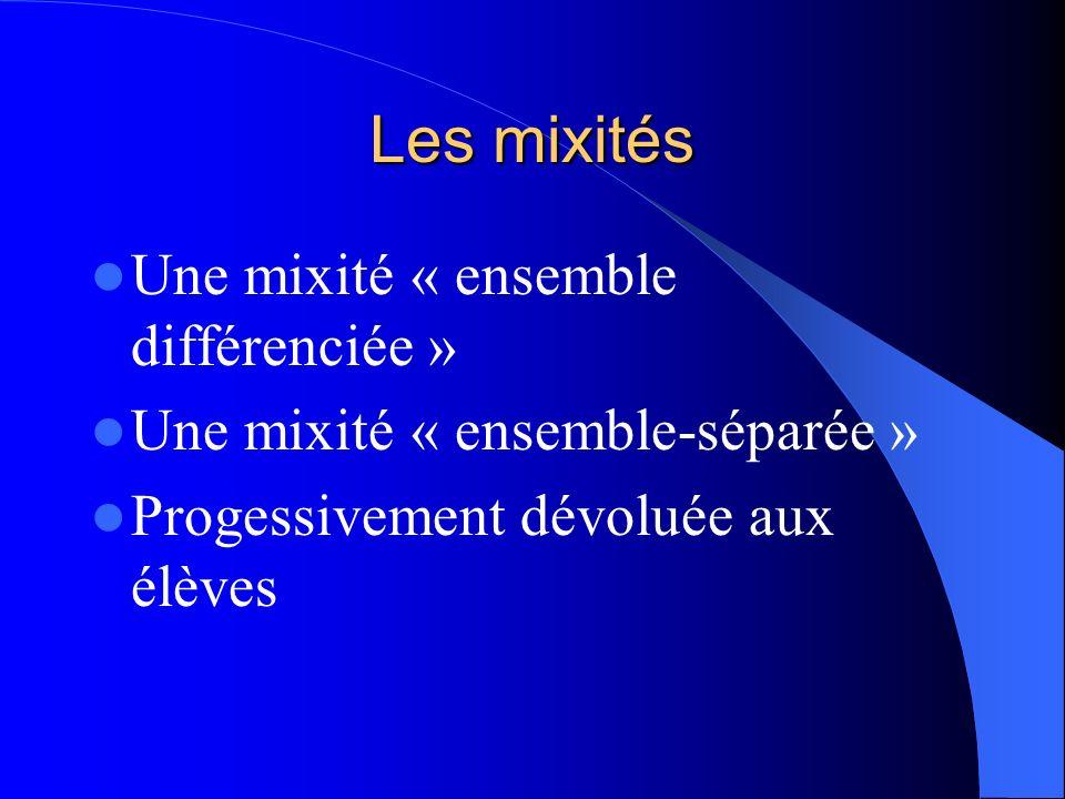 Les mixités Une mixité « ensemble différenciée »