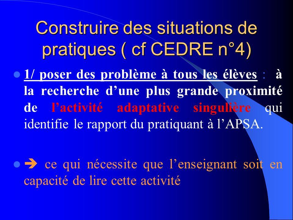 Construire des situations de pratiques ( cf CEDRE n°4)
